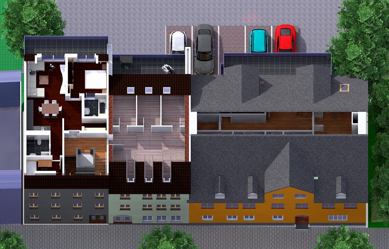 Wohnungen im Dachgeschoss/ Schlosscarree