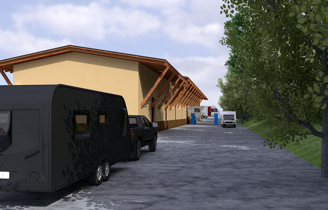 Stellplätze für Wohnwagen, Werkstatt und Atelierräume