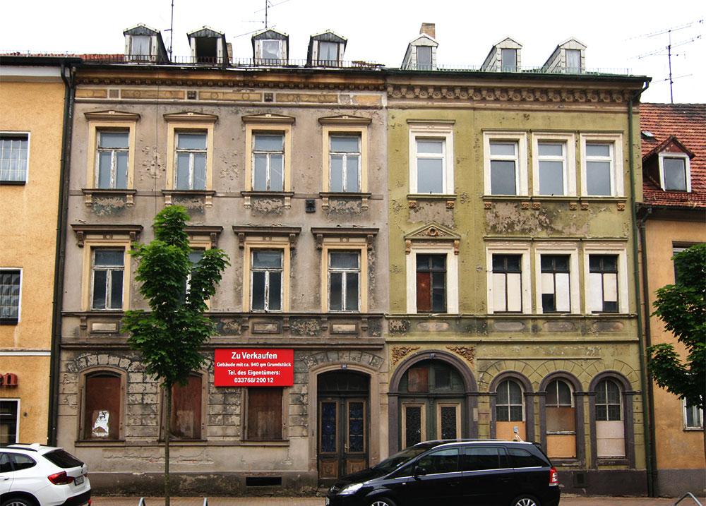 Mietshäuser in der Frankenberger Schlossstrasse vor der Sanierung