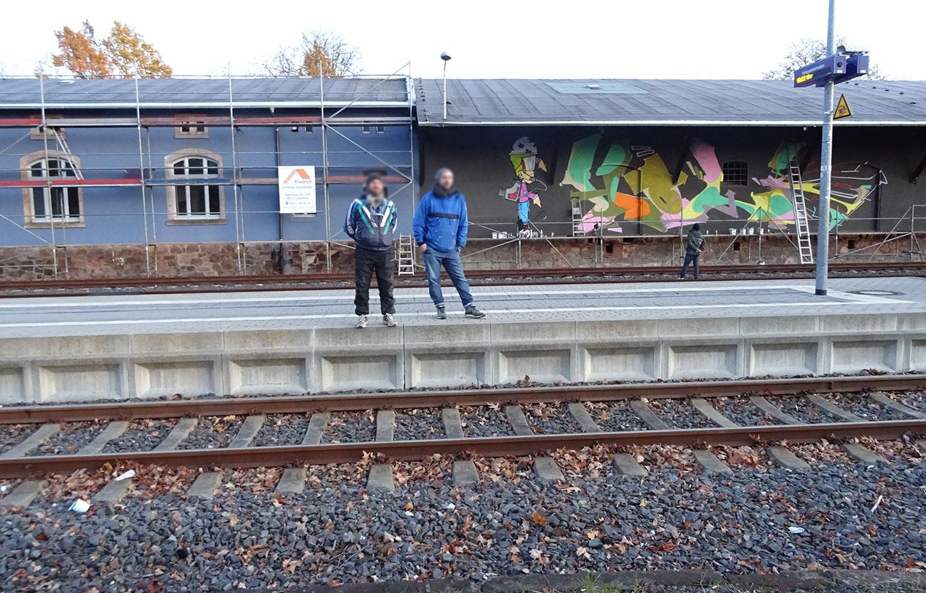 Graffiti am Dock4 in Frankenberg