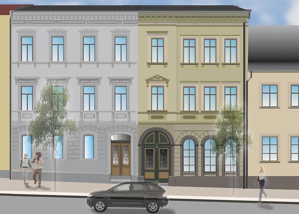 Entwurf der Mietshäuser in der Frankenberger Schlossstrasse
