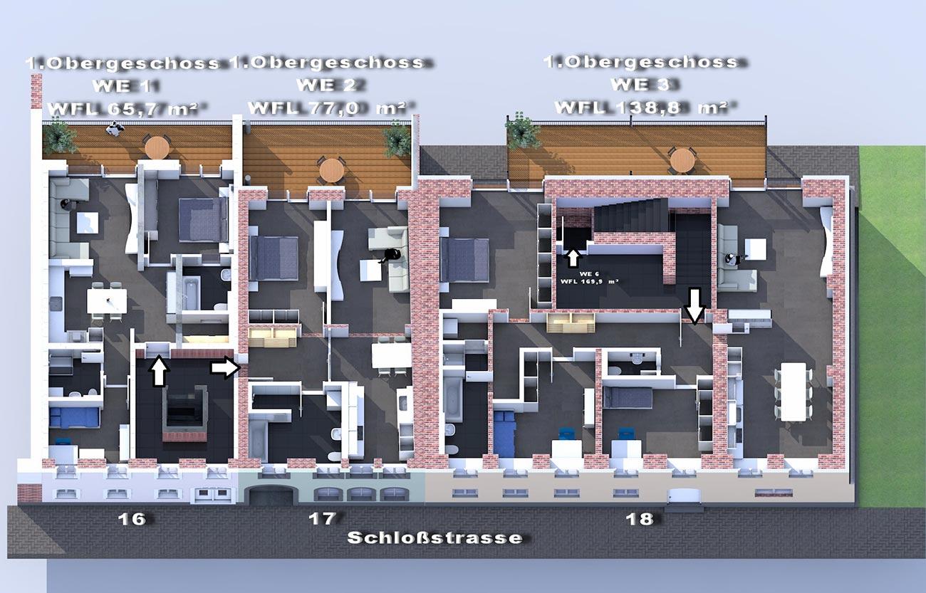 1. OG / Mietwohnungen im Frankenberger Schlosscarree