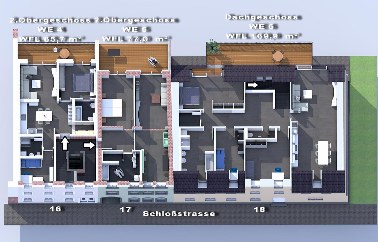 2. OG und Dachgeschoss / Mietwohnungen im Frankenberger Schlosscarree